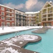 MLK Ski Weekend 2 bedroom Mosaic boutique suite exterior heated pool