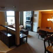 MLK Ski Weekend 2 bedroom Mosaic luxury townhome living room kitchen view