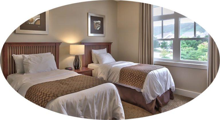 MLK Ski Weekend Rivergrass 2 bedroom villa twin bedroom cropped