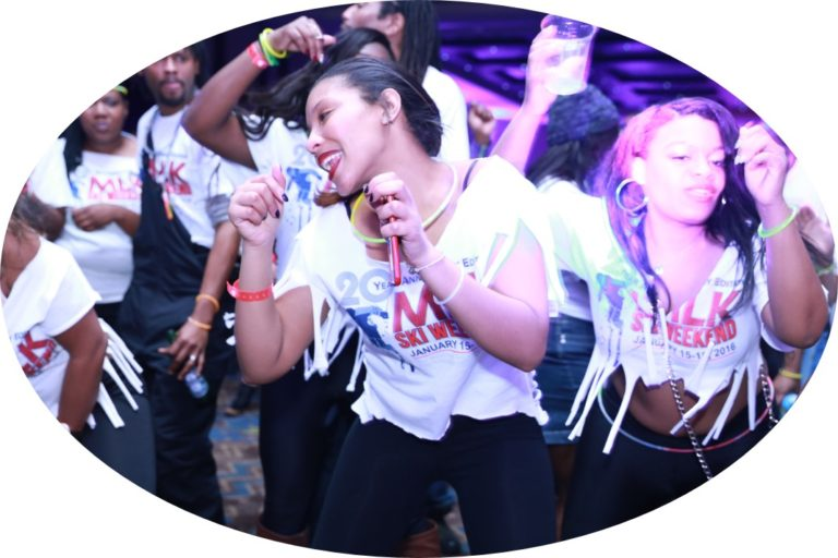 MLK Ski Weekend Black Ski Weekend Event Wristband girls dancing at Glow in the Dark T Shirt party for 20th anniversary