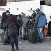 MLK Ski Weekend Black Ski Weekend charter coach party luggage loading