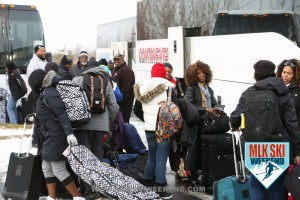 MLK Ski Weekend 2016 Crowd of people loading luggage into Charter Bus heading to Blue Mountains
