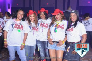 MLK Ski Weekend 2016 group photo of ladies in cowboy hats at tshirt party