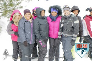MLK Ski Weekend 2016 group photo of ladies posing outside in winter gear doing ski activities