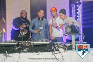MLK Ski Weekend 2016 images of deejays of opening night 90s party and DJ Starting from Scratch 2
