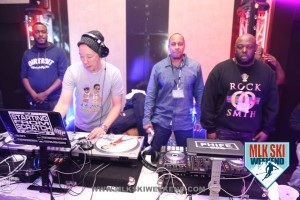 MLK Ski Weekend 2016 images of hosts of opening night 90s party and DJ Starting from Scratch