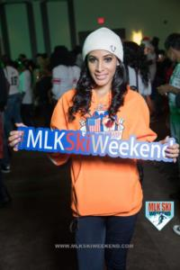 MLK Ski Weekend 2017 Black Ski Weekend brand ambassador holding sign (1)