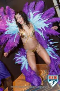 MLK Ski Weekend caribbean carnival theme for t shirt party feathers and bling