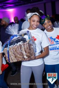 MLK Ski Weekend t shirt party prize won for Barbados gift basket and free trip