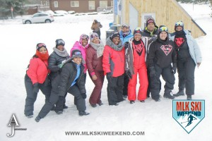 MLK Ski weekend 2016 group of participants outside in the village partaking in village day activities