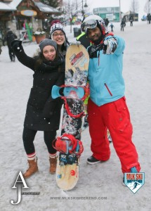 MLK Ski weekend 2016 group photo with a snowboarder