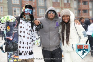 MLK Ski weekend 2016 guests and snowboarder outside in the village partaking in village day party