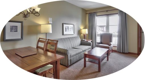 MLK Ski Weekend Lodging 1 Bedroom Suite Living Room