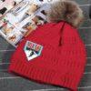 MLK Ski Weekend Red furry pom winter beanie