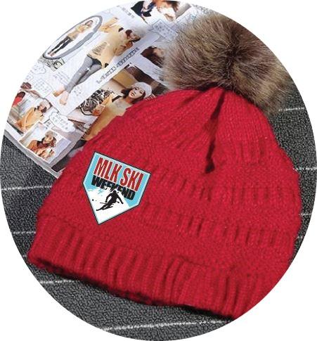 MLK Ski Weekend Red furry pom winter beanie 2019