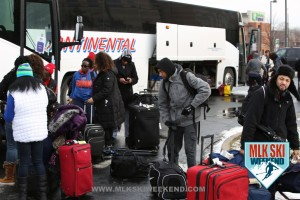 MLK Ski Weekend 2016 Charter Bus image of people getting off the bus