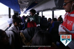 MLK Ski Weekend 2016 Crowd of people in Charter Bus heading to Blue Mountains