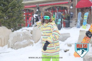 MLK Ski Weekend 2016 action photo of ski weekend particpant throwing a snow ball