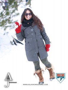 MLK Ski Weekend 2016 girl posing with real snow in backdrop