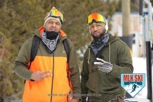 MLK Ski Weekend 2017 Black Ski Weekend  ski jacket goggles Artie and Court snowboarders