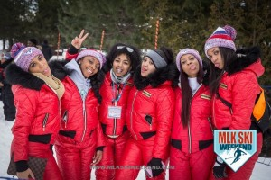 MLK Ski Weekend 2017 Black Ski Weekend event ambassadors red ski suits hats winter tongue out
