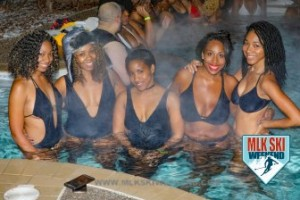MLK Ski Weekend 2017 Black Ski Weekend outdoor hot tub party in snow