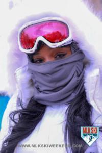 MLK Ski Weekend Goggles with eyes white snow suit black girls rock