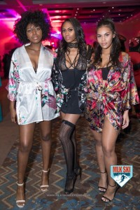 MLK Ski Weekend Pajama and lingerie party 3 beautiful models brand ambassadors robes stockings heels Black Ski Weekend