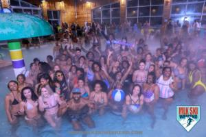 MLK Ski Weekend group shot at pool party in Canada
