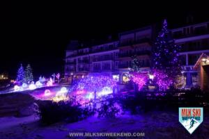 MLK Ski Weekend lights and beauty even at night purple neon LED