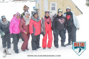 MLK Ski weekend 2016 group of ladies outside in the village partaking in day activities